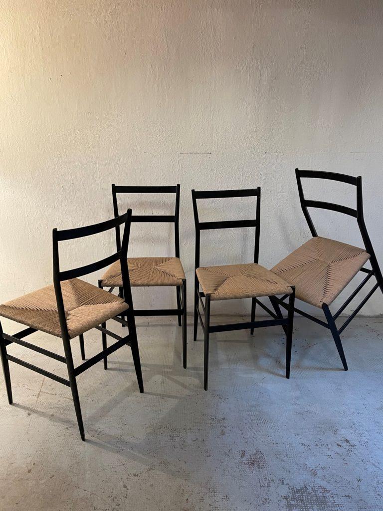 Set 4 sedie Superleggera di Giò Ponti per Cassina, anni '50
